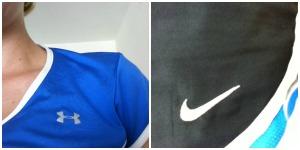 Brooks shirt and Nike shorts. Oops.