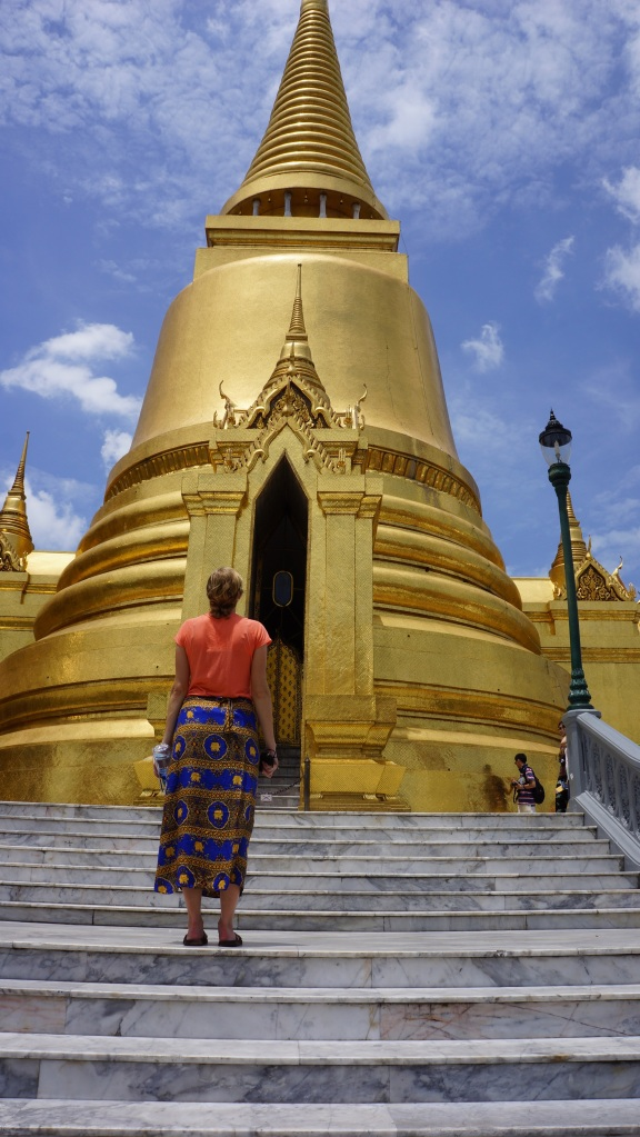 Blinding temples and stylish cover ups at the Bangkok temples.