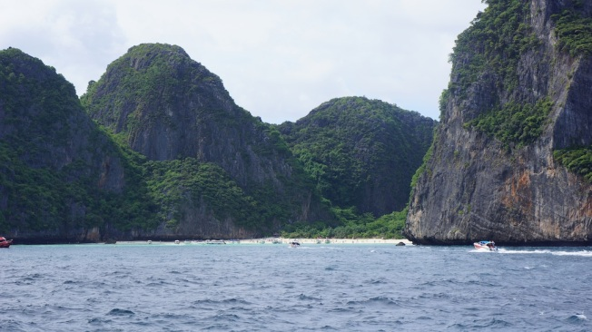 View of Maya Bay (where The Beach was filmed) from the boat.